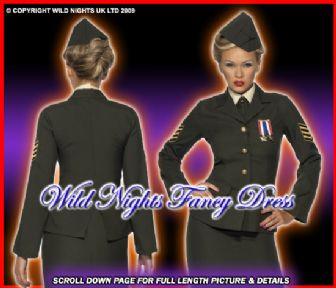 FANCY DRESS COSTUME # LADIES 1940s WARTIME MILITARY OFFICER XXL 24-26